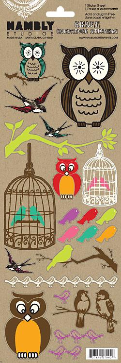 Hambly kraft owl stickers