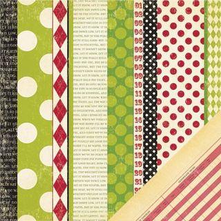 MM Mistletoe pattern stripe paper