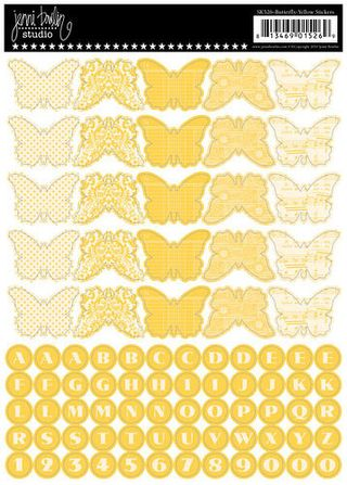 JB Butterfly banner stickers yellow