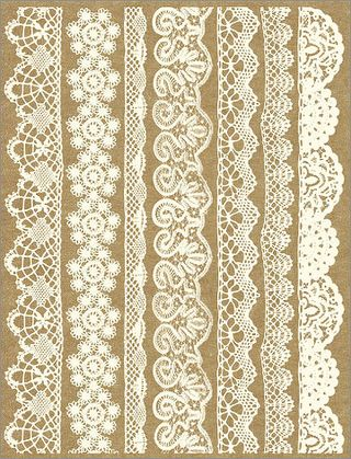 Hamby Antique White Lace Border Rub Ons